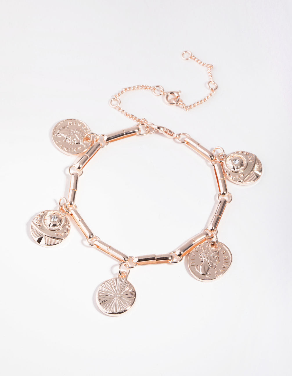 Real Rose Gold Plated Large Coin Bracelet