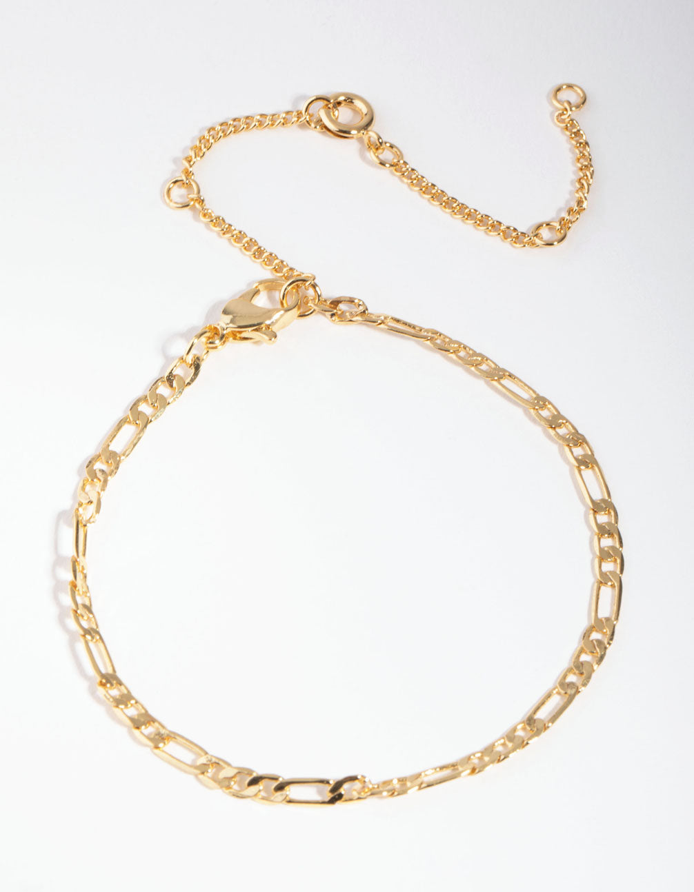 Real Gold Plated Thin Figaro Chain Bracelet