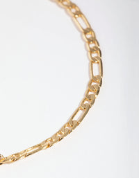 Real Gold Plated Thin Figaro Chain Bracelet - link has visual effect only