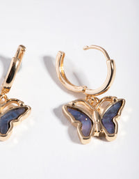 Gold Inlay Butterfly Huggie Earrings - link has visual effect only