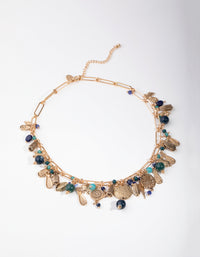 Burnished Gold Link Chain Cluster Necklace - link has visual effect only