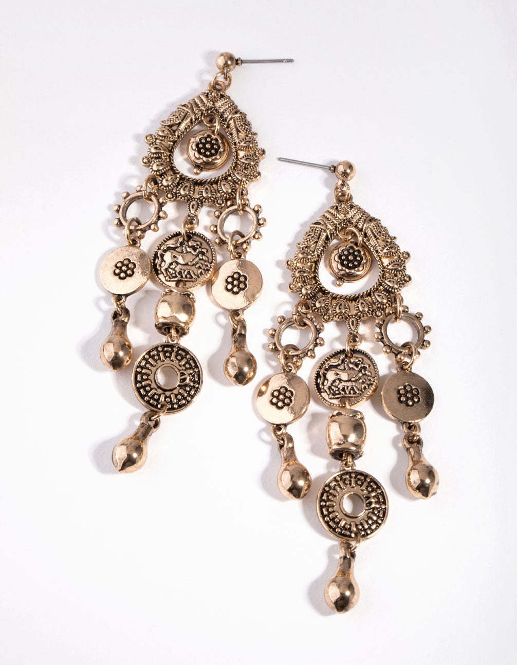 Gold Boho Multi Disc Drop Earrings
