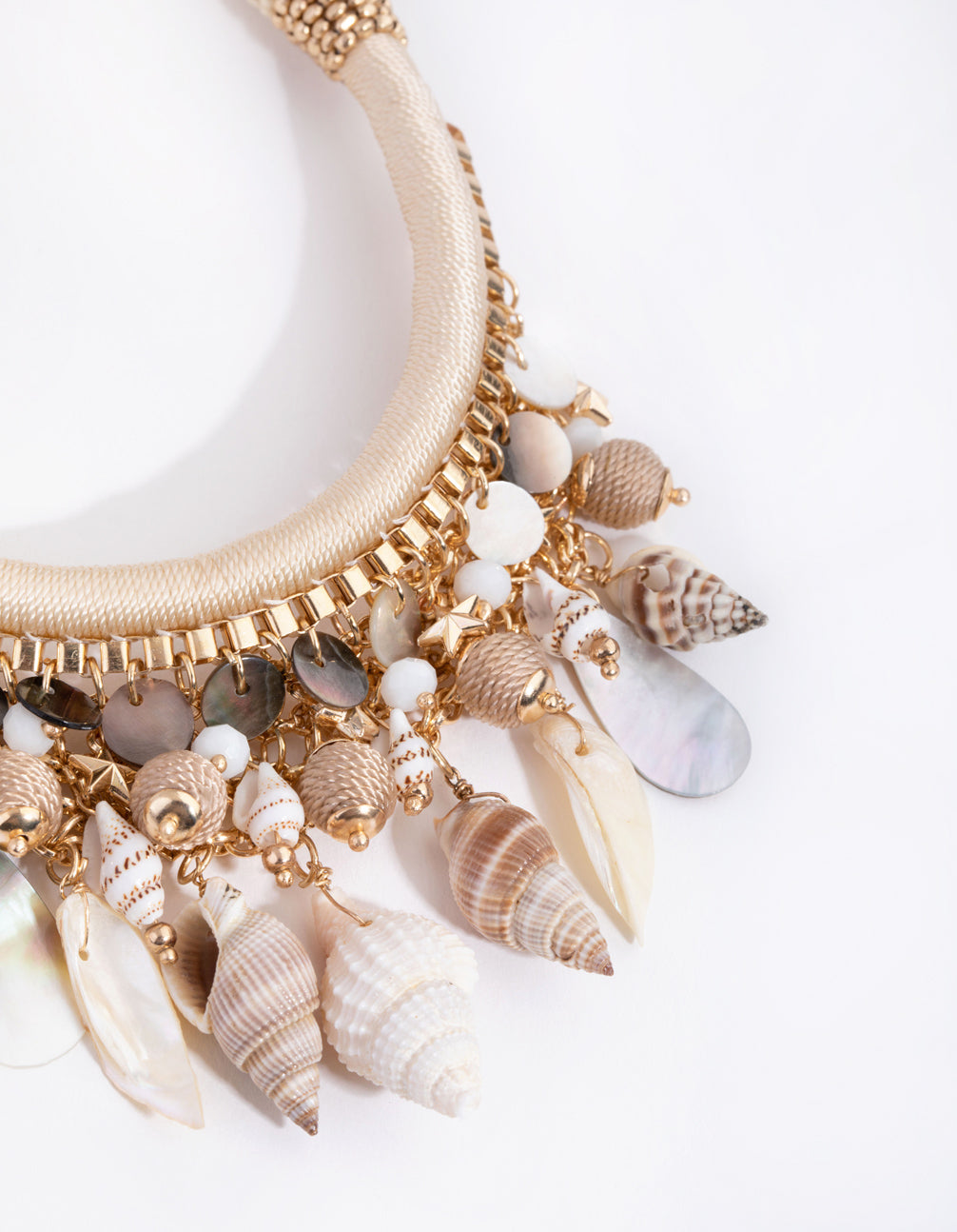 Gold Woven Shell Collar Necklace