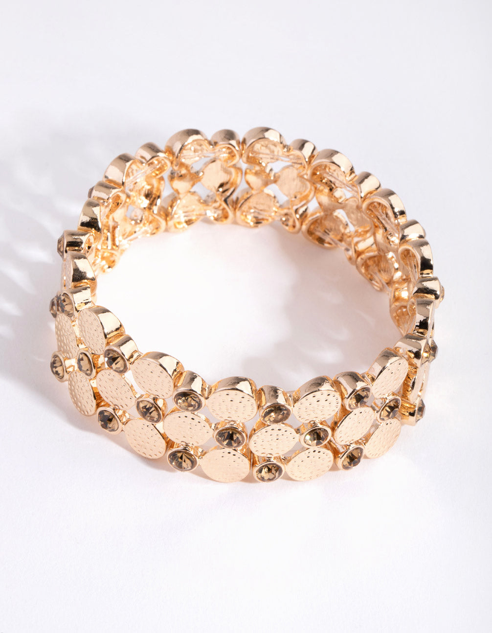 Gold Disc Diamante Stretch Bracelet