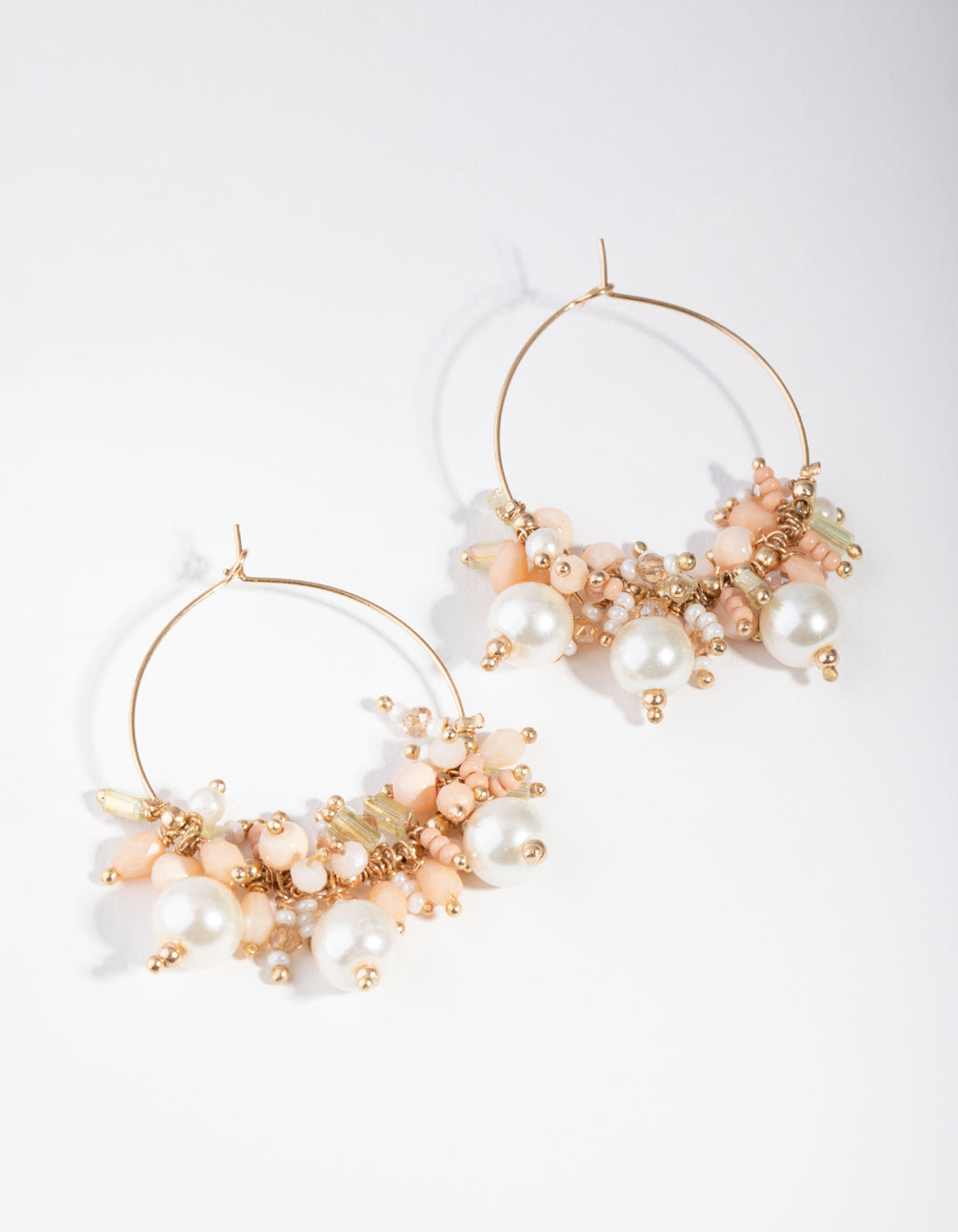 Gold Small Bead Cluster Drop Earrings