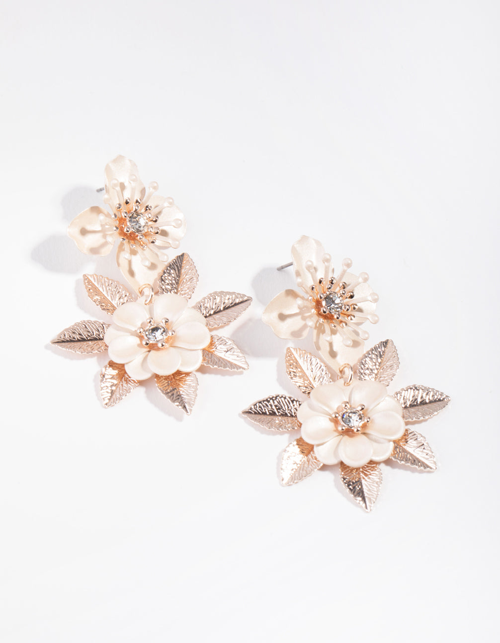 Rose Gold Pearlised Flower Drop Earrings