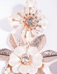 Rose Gold Pearlised Flower Drop Earrings - link has visual effect only