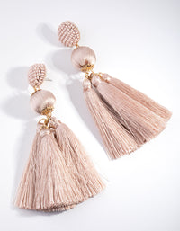 Fabric Ball Tassel Drop Earrings - link has visual effect only