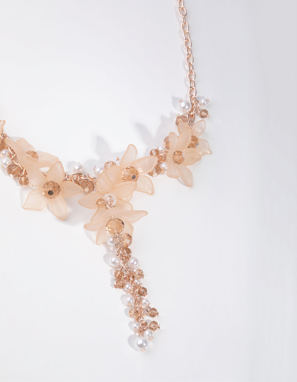 Rose Gold Opaque Flower Y-Neck Necklace