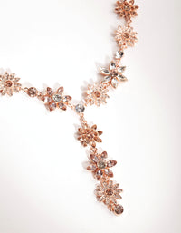 Rose Gold Diamante Flower Mix Y-Neck Necklace - link has visual effect only