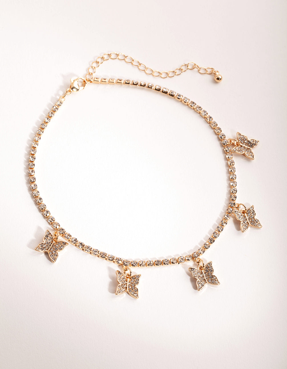 Gold Diamante Butterfly Choker Necklace