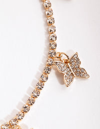 Gold Diamante Butterfly Choker Necklace - link has visual effect only