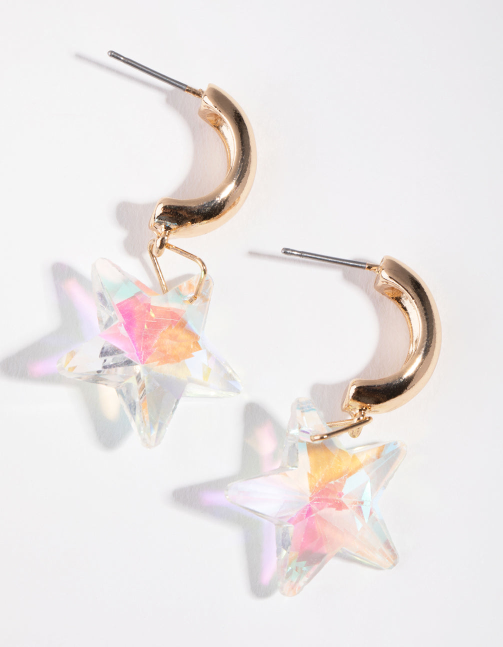 Gold Iridescent Star Huggie Earrings