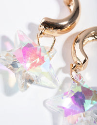 Gold Iridescent Star Huggie Earrings - link has visual effect only