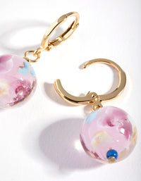 Gold Painted Bead Drop Earrings - link has visual effect only