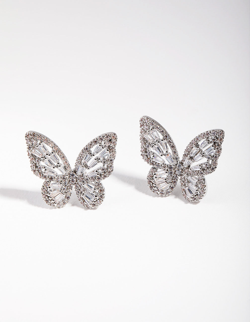 Large Rhodium Diamond Simulant Butterfly Earrings