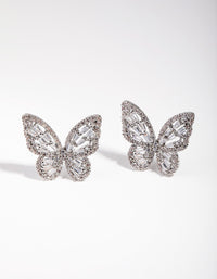 Large Rhodium Diamond Simulant Butterfly Earrings - link has visual effect only