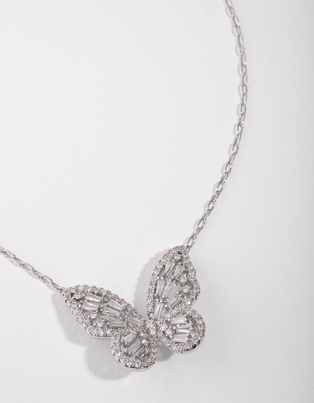 Large Rhodium Diamond Simulant Butterfly Necklace