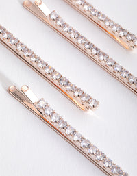 Rose Gold Cubic Zirconia Simple 4-Pack Clips - link has visual effect only