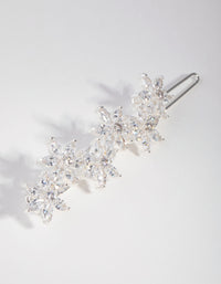Silver Cubic Zirconia Flower Clip - link has visual effect only