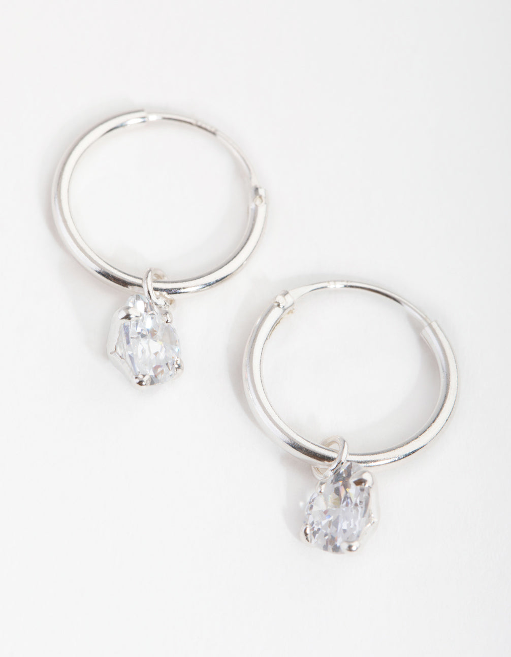 Sterling Silver Cubic Zirconia Heart Charm Hoop Earrings