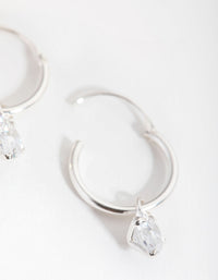 Sterling Silver Cubic Zirconia Heart Charm Hoop Earrings - link has visual effect only