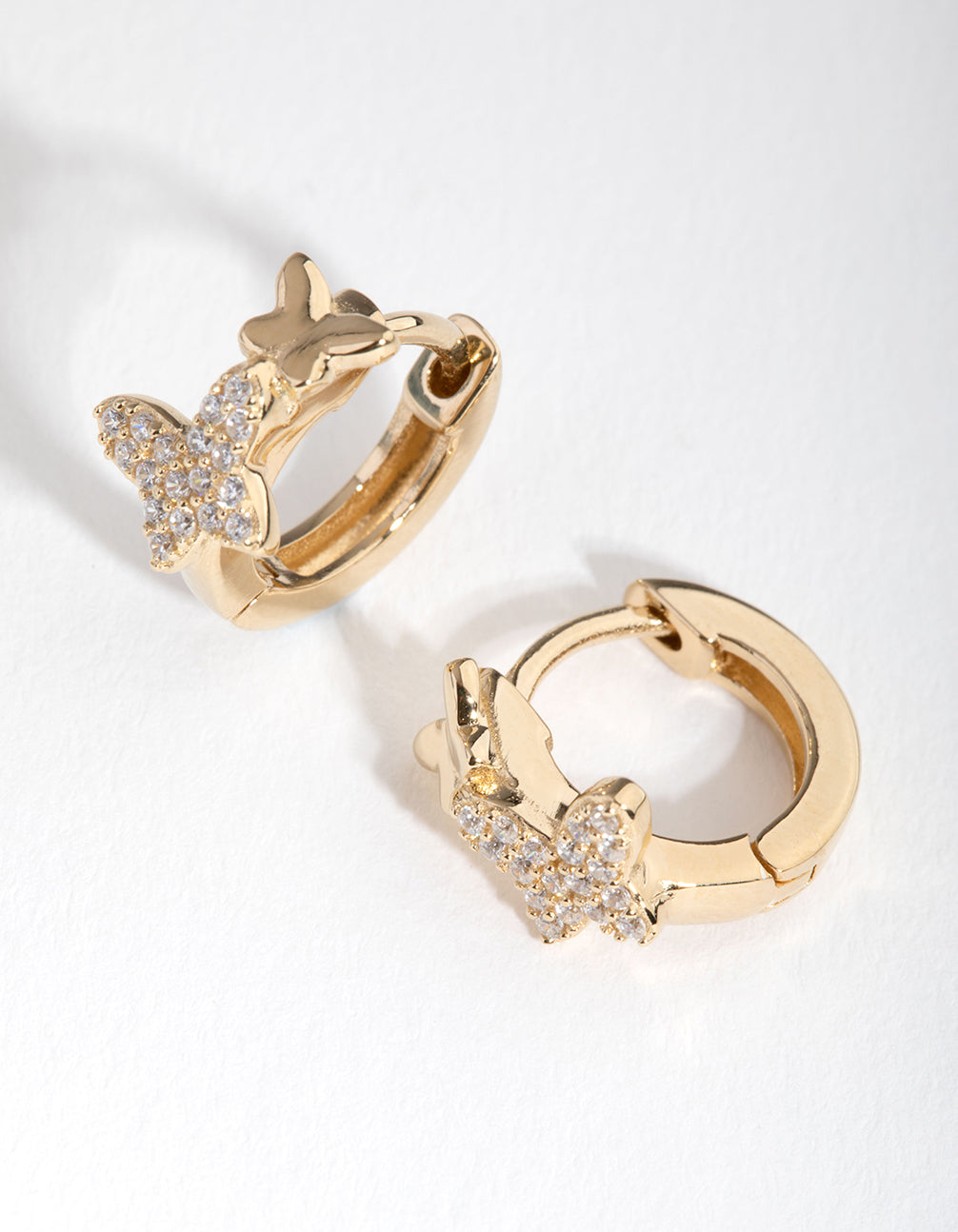 Gold Plated Sterling Silver Cubic Zirconia Butterfly Huggie Earrings