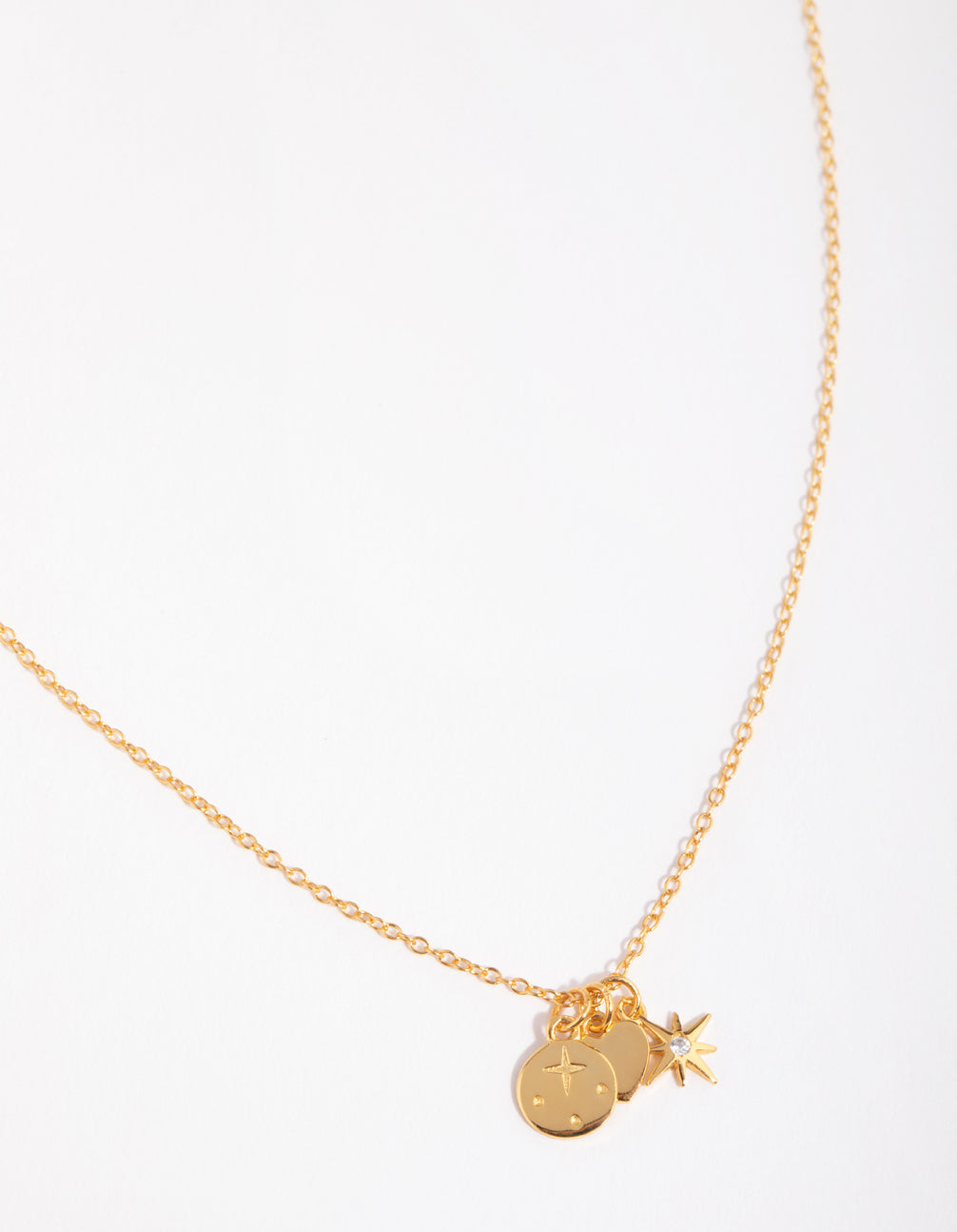 Gold Plated Sterling Silver Celestial Charm Necklace