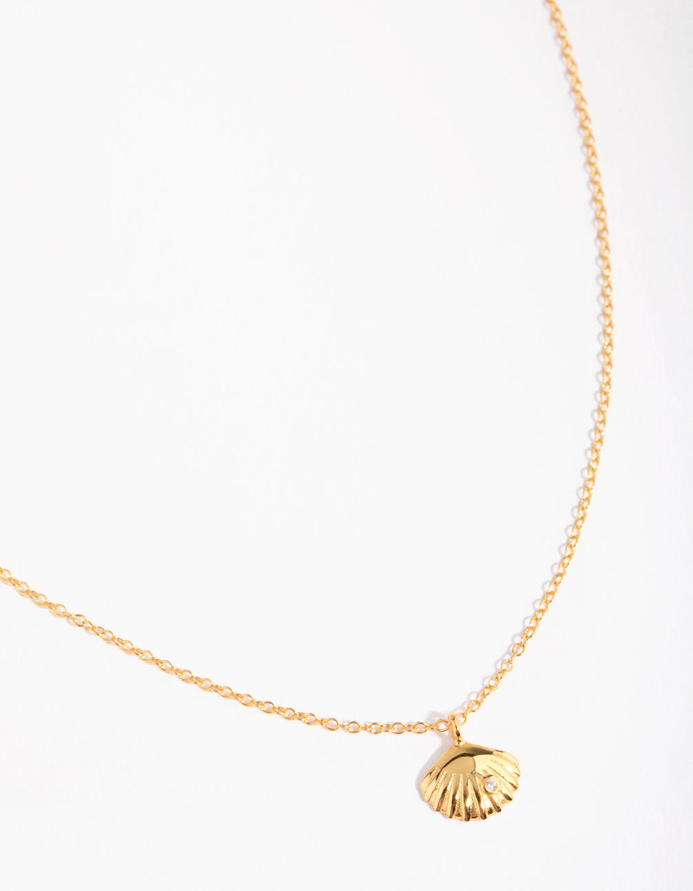 Gold Plated Sterling Silver Diamante 3D Shell Necklace