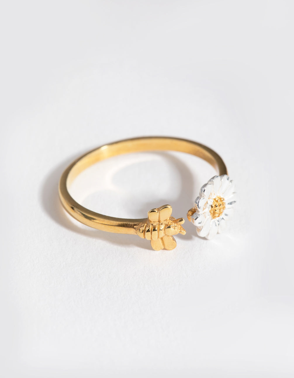 Gold Plated Sterling Silver Daisy Bee Open Ring