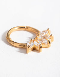 Gold Plated Sterling Silver Marquise Cubic Zirconia Clicker - link has visual effect only