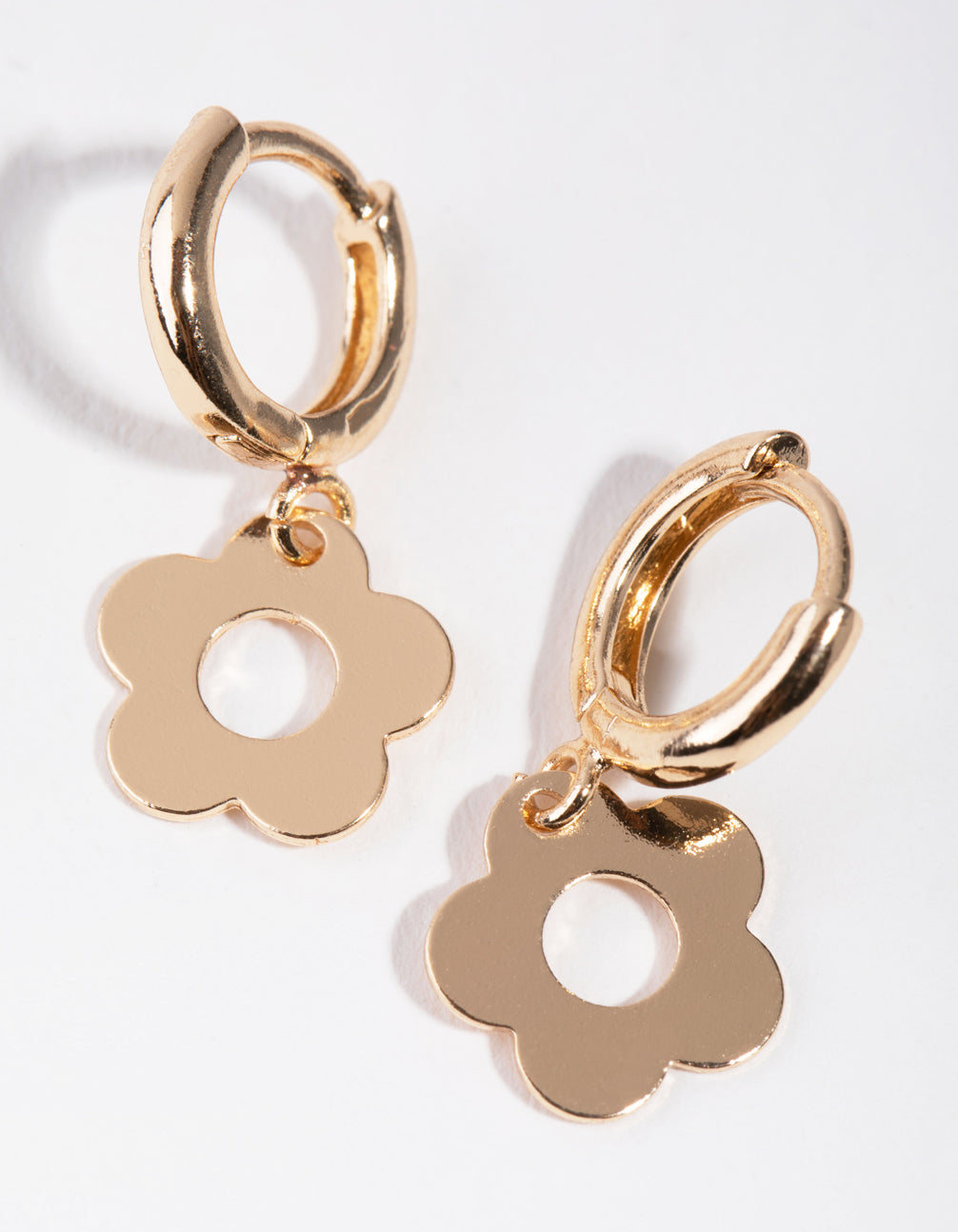 Gold Cutout Flower Huggie Earrings