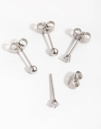 Surgical Steel Star and Ball 2-Pack Stud Earrings - link has visual effect only
