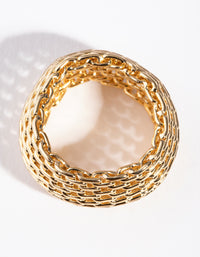 Gold Wide Mesh Ring - link has visual effect only