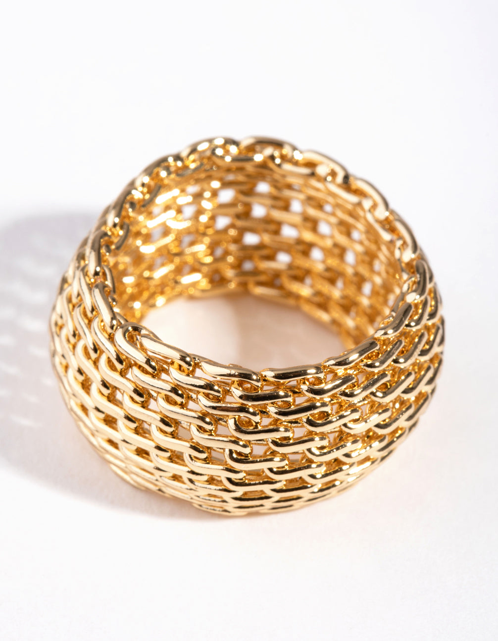 Gold Wide Mesh Ring