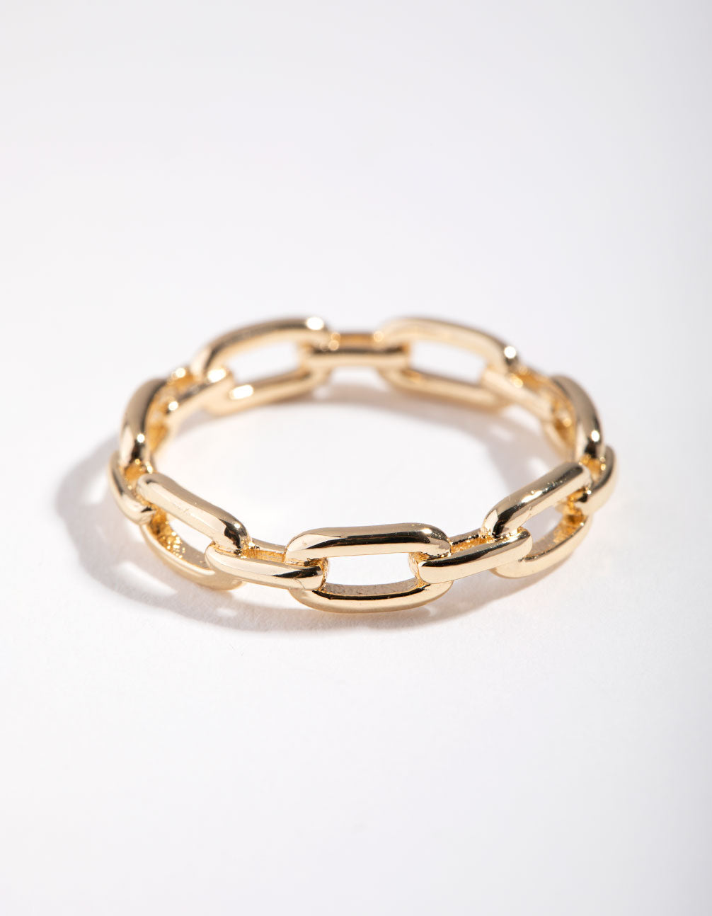 Gold Skinny Rectangle Link Ring