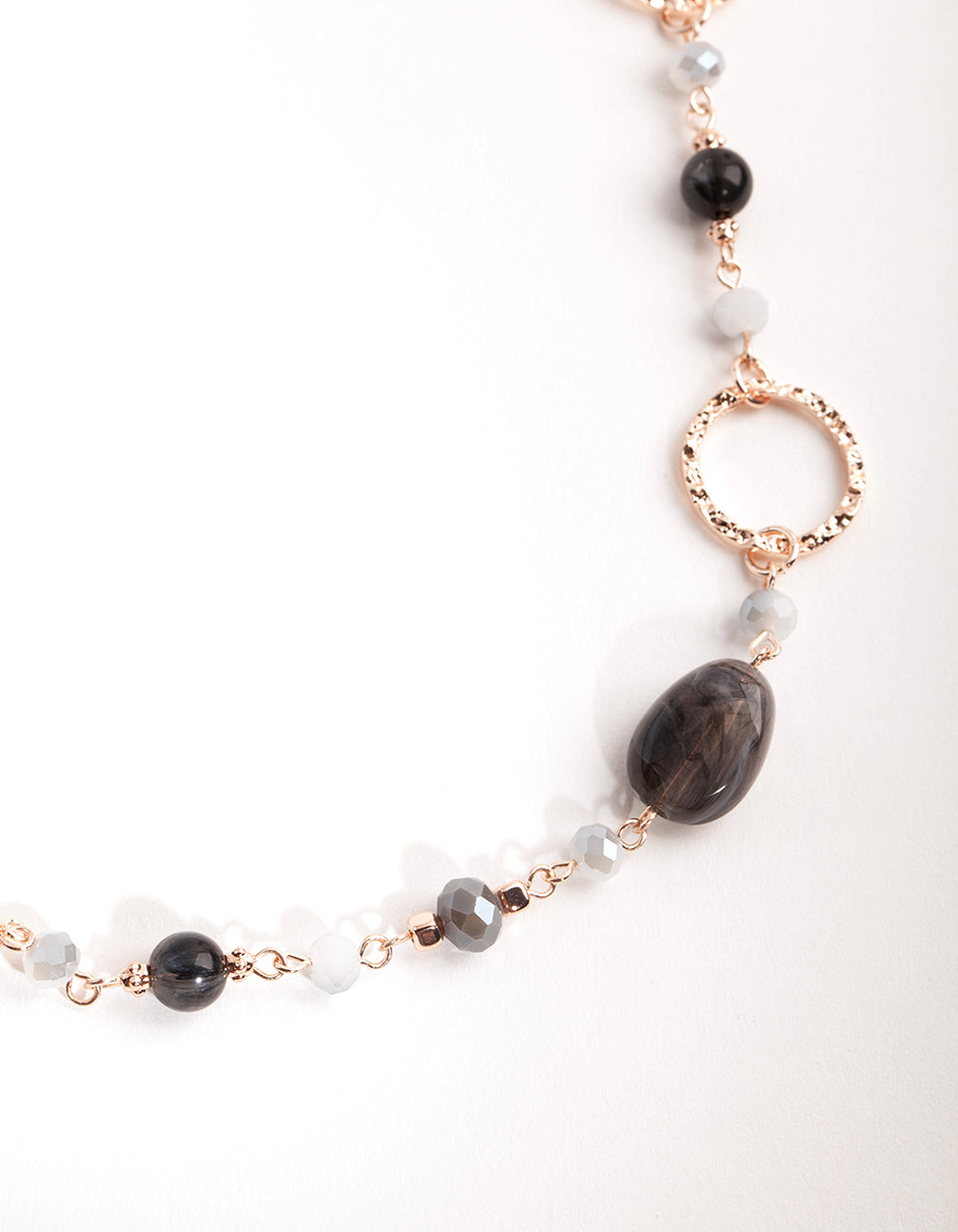 Rose Gold Crater Hoop and Bead Necklace