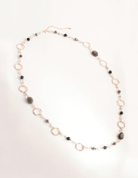 Rose Gold Crater Hoop and Bead Necklace - link has visual effect only
