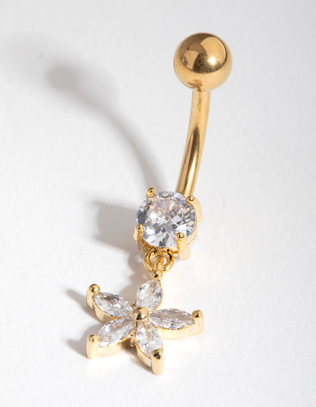 Gold Cubic Zirconia Flower Drop Belly Ring