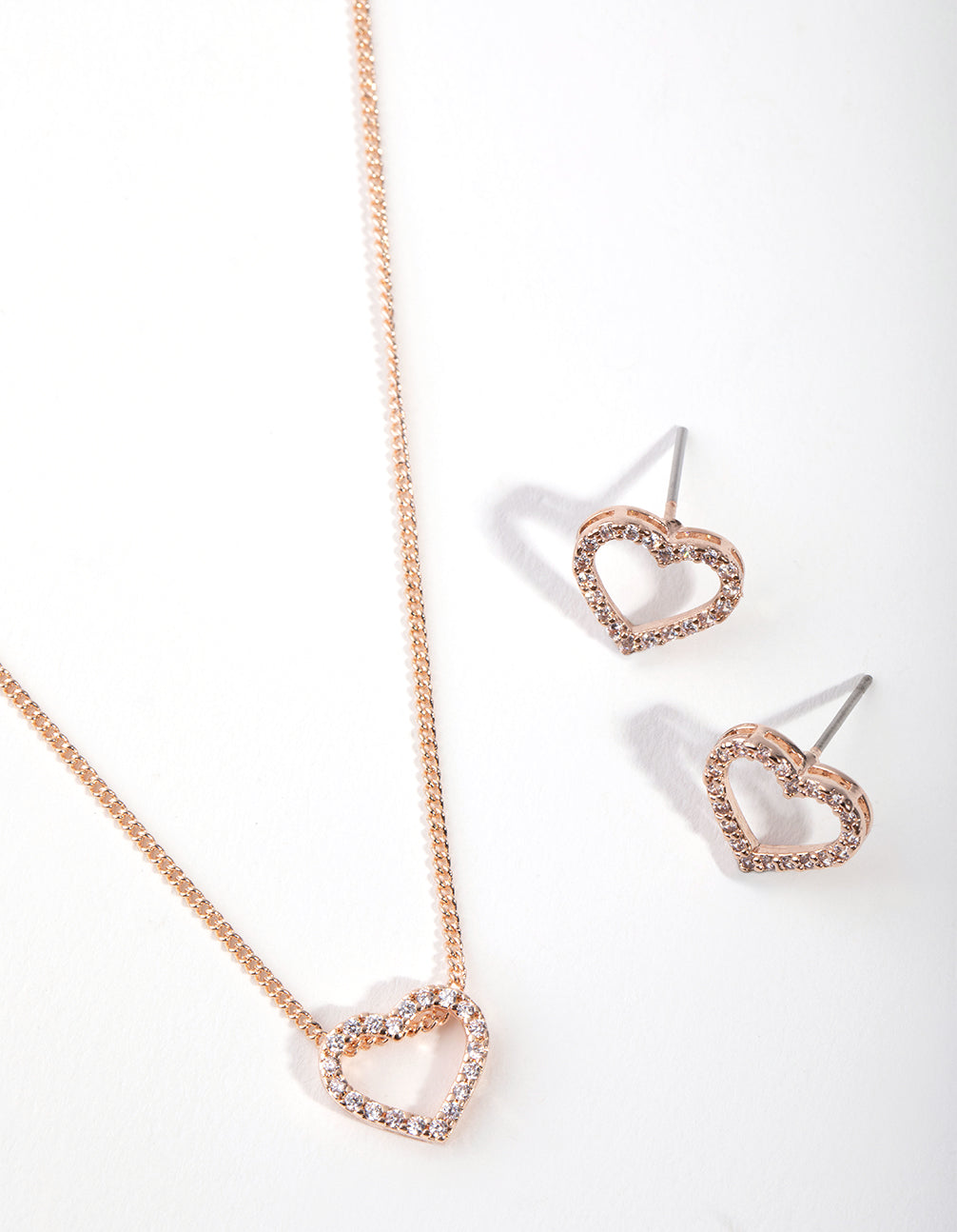 Rose Gold Diamond Simulant Heart Necklace and Earring Set