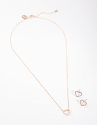 Rose Gold Diamond Simulant Heart Necklace and Earring Set - link has visual effect only