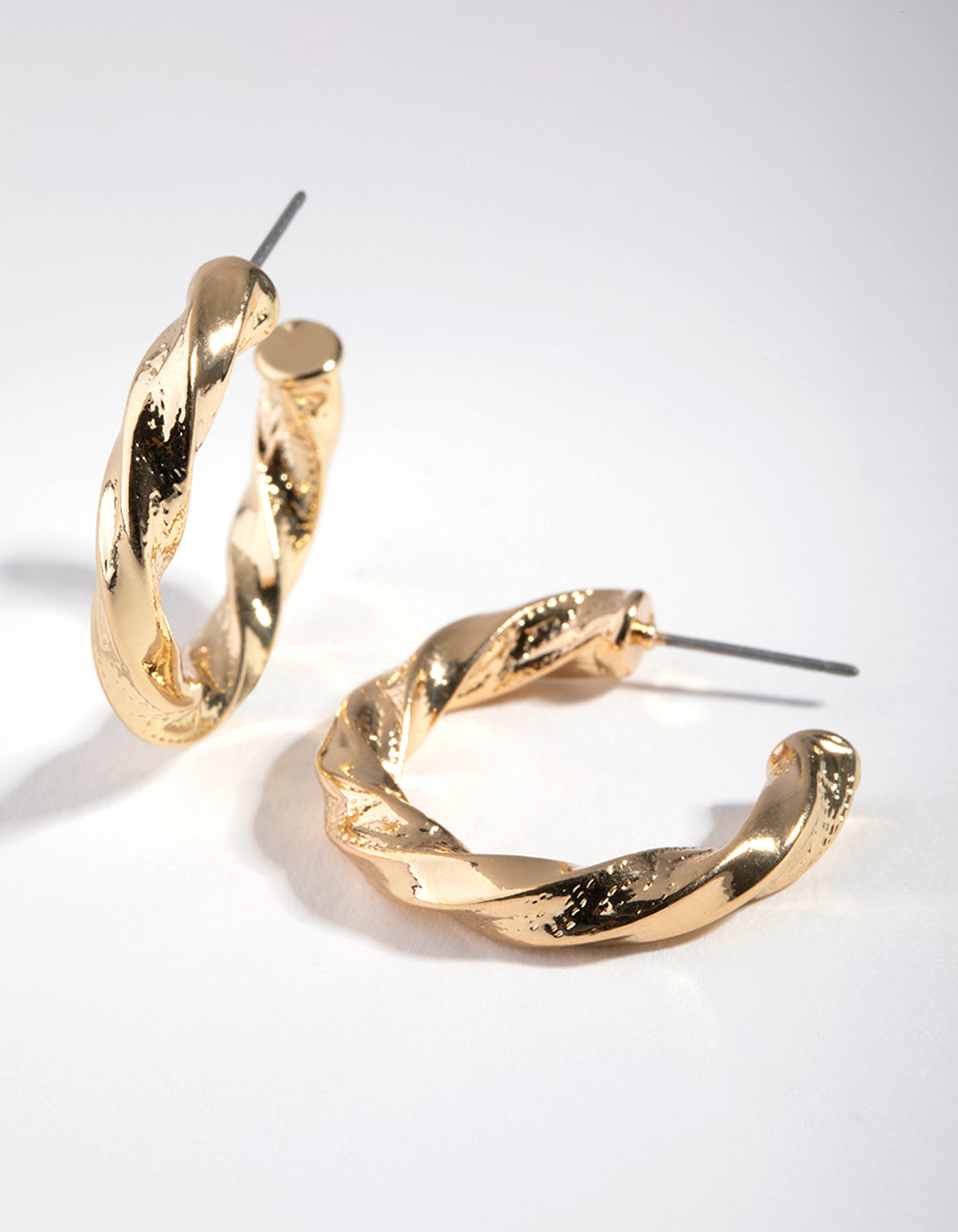 Gold Thick Twist Hoop Earrings