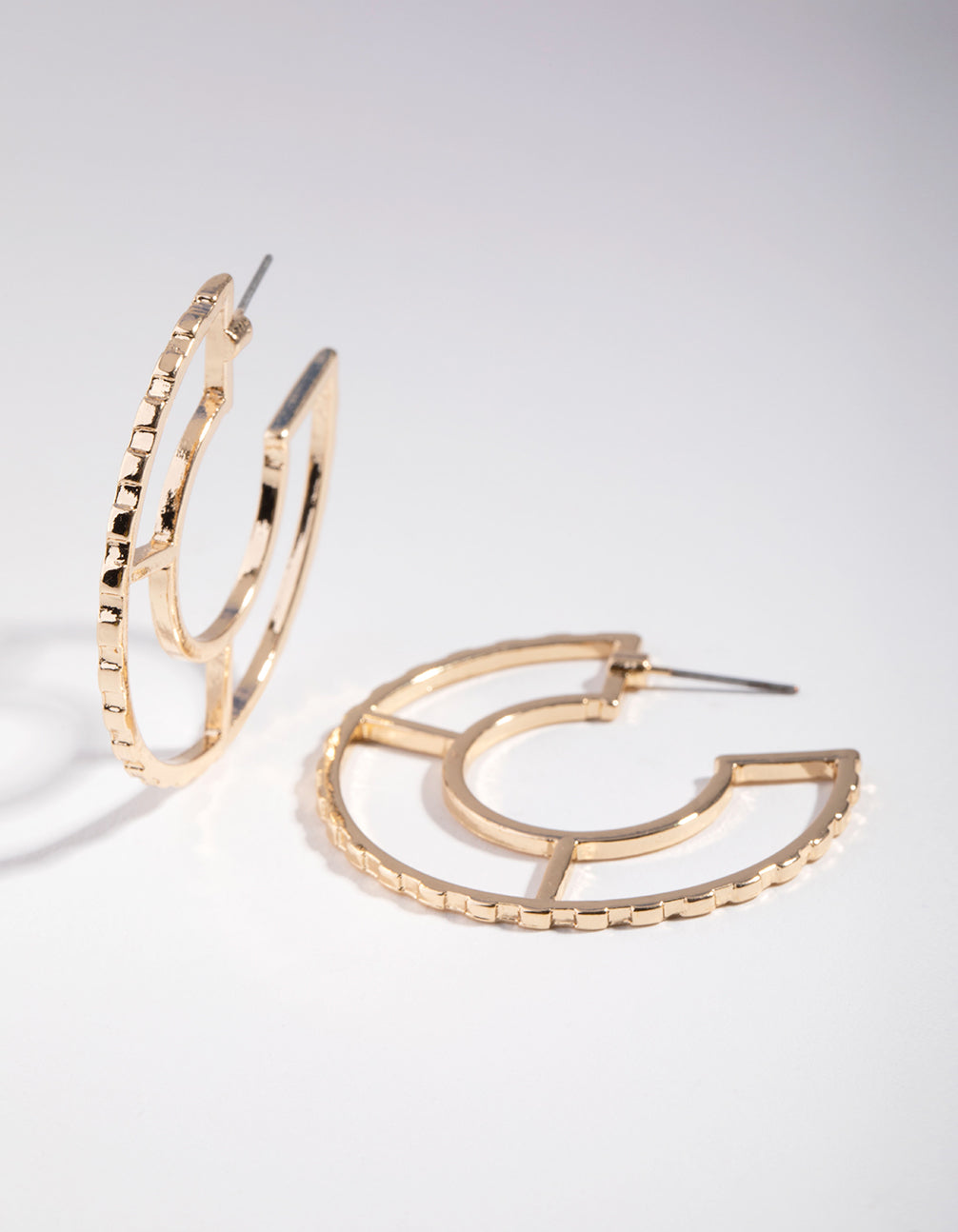 Gold Textured Outline Hoop Earrings