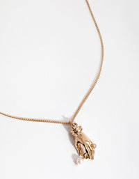 Gold Faux Pearl Hand Necklace - link has visual effect only