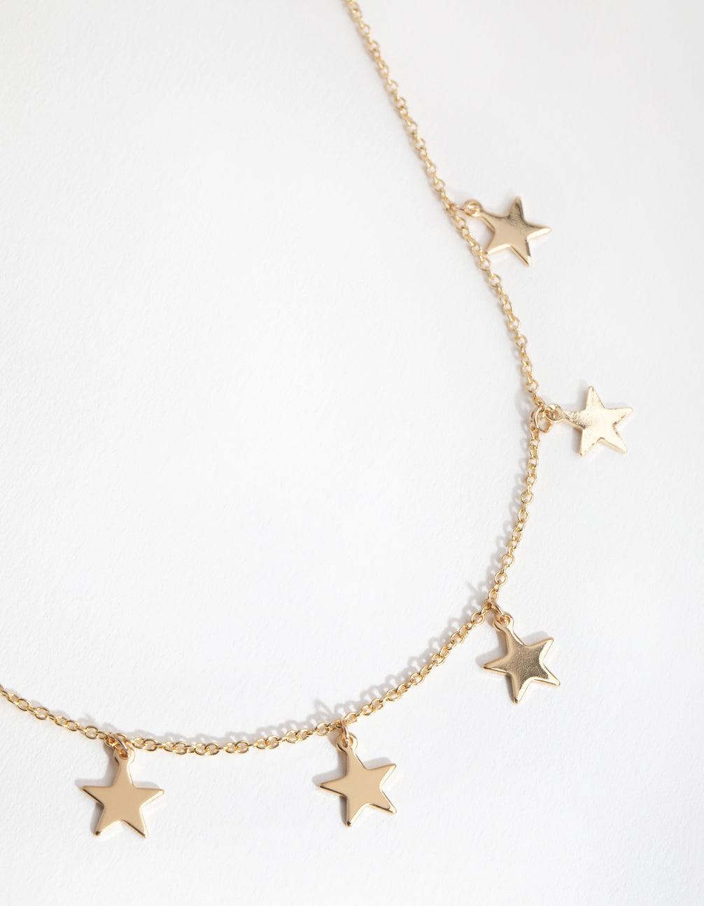 Gold Multi Star Station Necklace