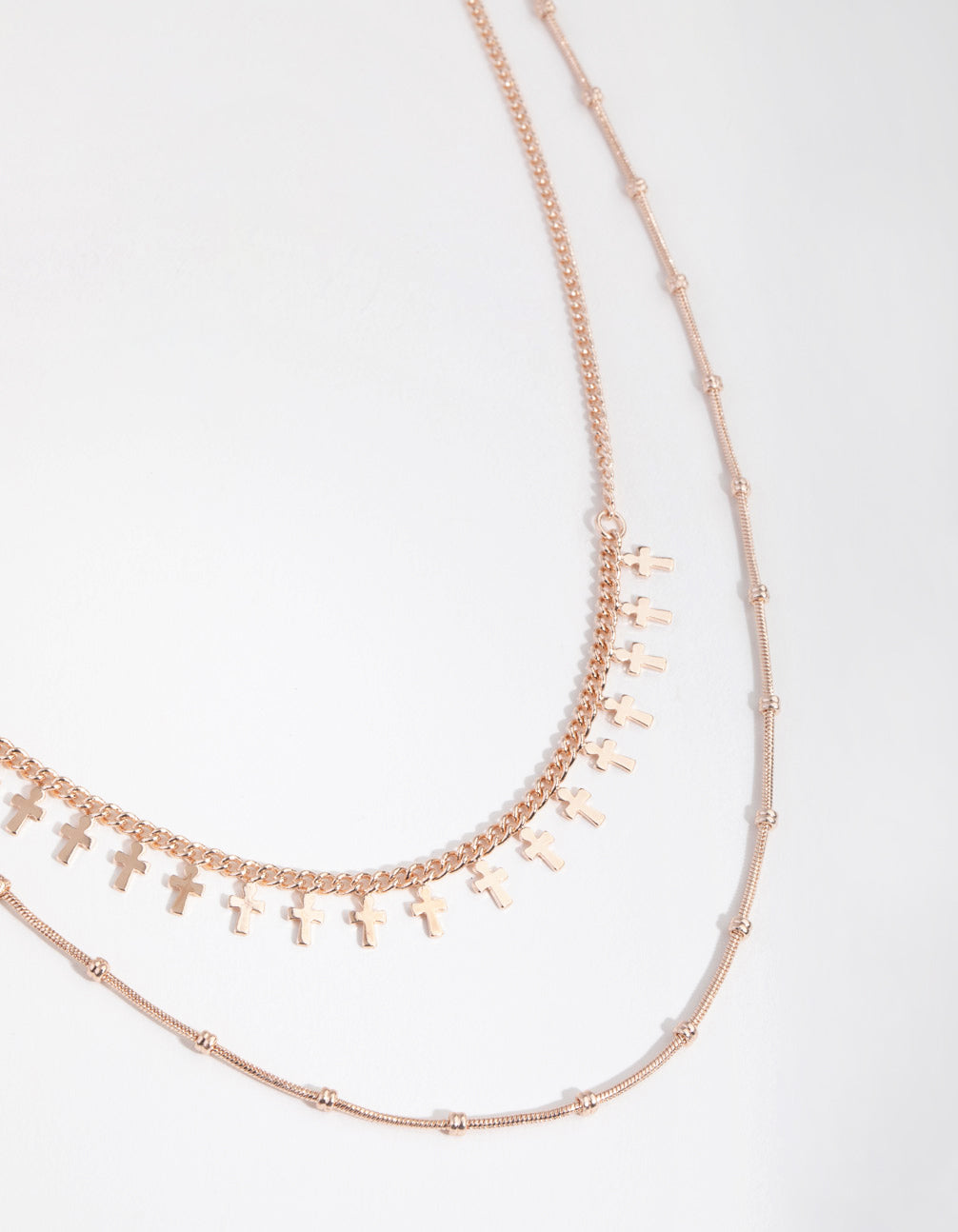 Rose Gold Short Mini Cross 2-Row Necklace