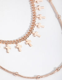 Rose Gold Short Mini Cross 2-Row Necklace - link has visual effect only