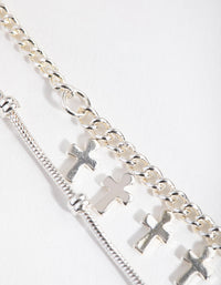 Short Mini Cross 2-Row Necklace - link has visual effect only
