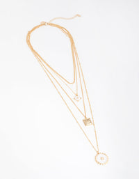 Gold Long Shell 4-Row Necklace - link has visual effect only