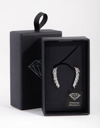 Rhodium Diamond Simulant Cubic Zirconia Marquaise Crawler Earrings - link has visual effect only